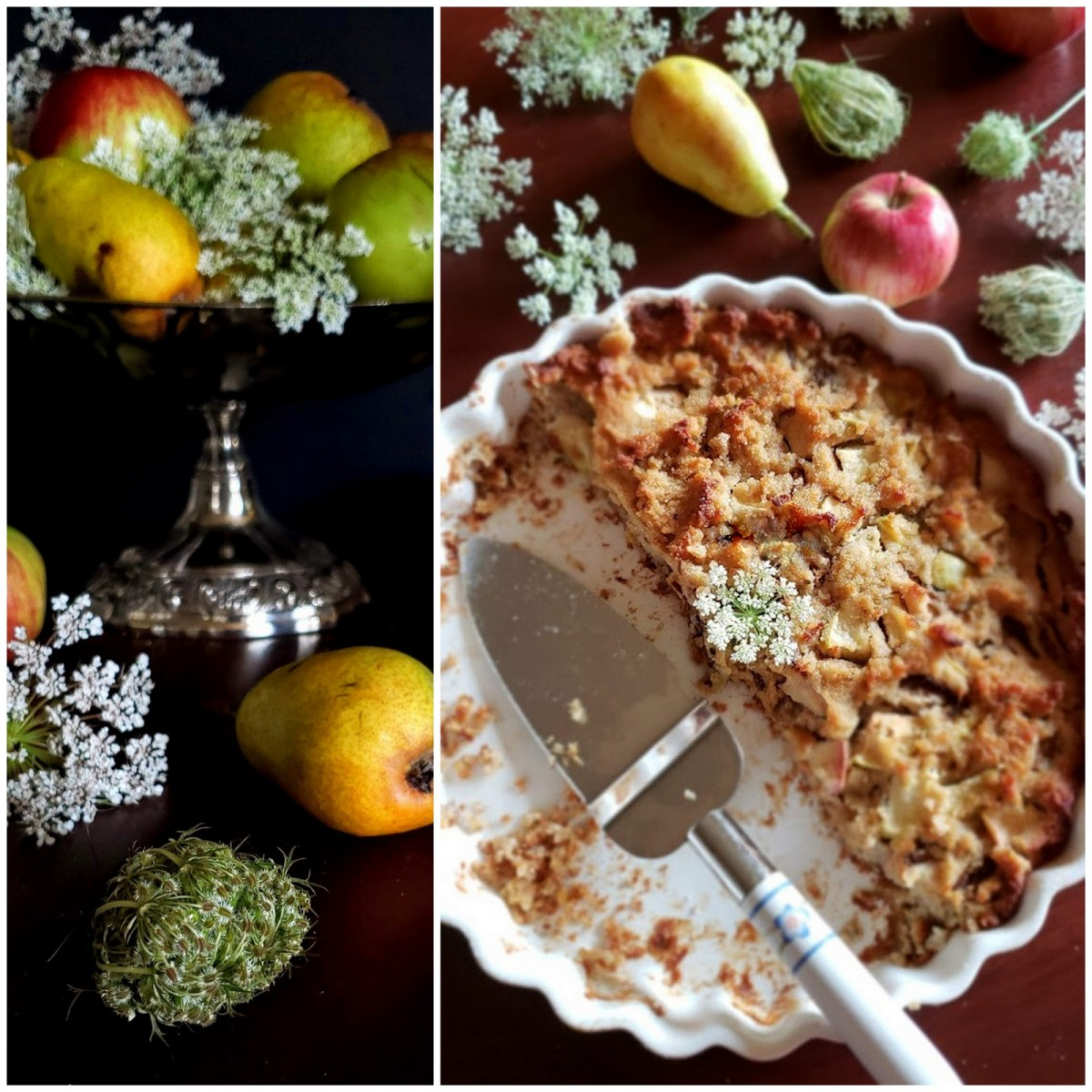 Diana's Apple Pear Cake w/Queen Anne Lace: Fit for a Goddess!